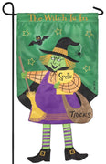 Crazy Legs Witch Double Applique Garden Flag