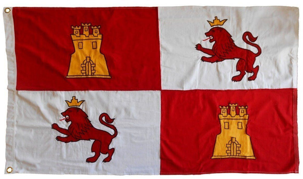 Spanish Lions and Castles Sewn Cotton 3x5 Flag