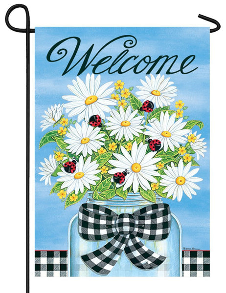 Daisies and Ladybugs Welcome Garden Flag