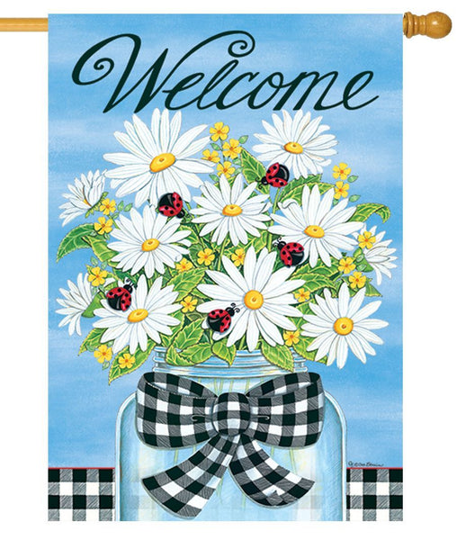 Daisies and Ladybugs Welcome House Flag