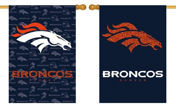 Denver Broncos 2 Sided Glitter Embellished House Flag