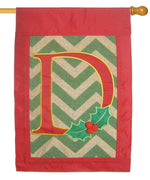 Burlap Christmas Monogram D Decorative House Flag