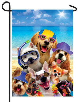 Dog Selfie on the Beach Garden Flag