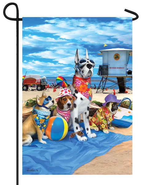 Dogs on the Beach Garden Flag