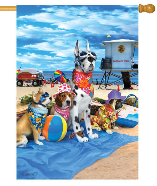 Dogs on the Beach House Flag