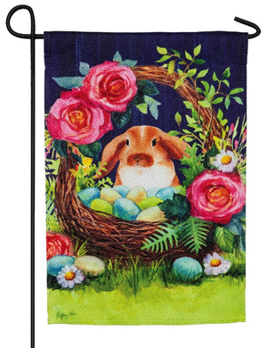 Easter Bunny Basket Suede Reflections Garden Flag