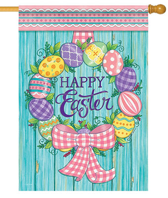 Easter Egg Wreath House Flag