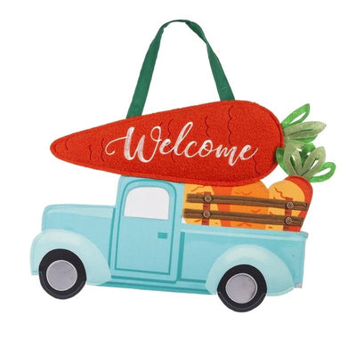 Easter Pickup Truck With Carrots Decorative Door Hanger