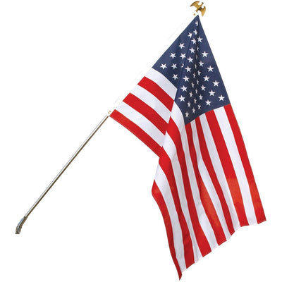 Economy Superknit Polyester USA Flagpole Kit White