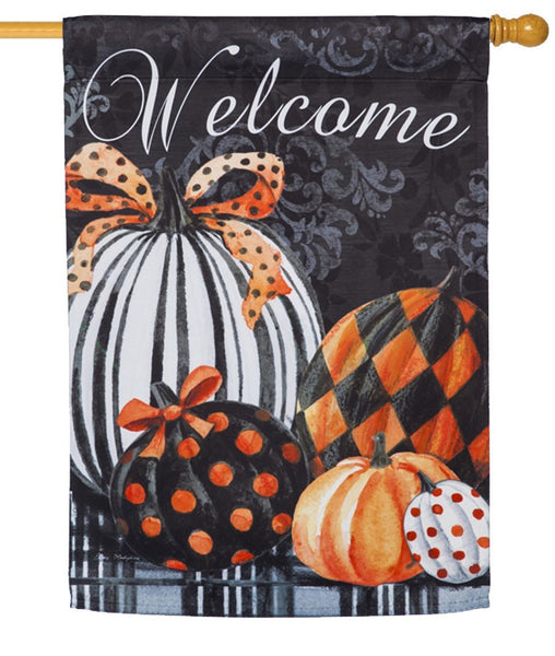 Elegant Pumpkins Suede Reflections House Flag