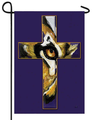 Eye of the Tiger Cross Garden Flag