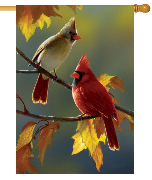 Fall Cardinal Couple House Flag
