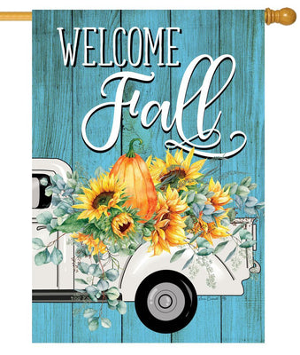 Fall Floral Truck House Flag