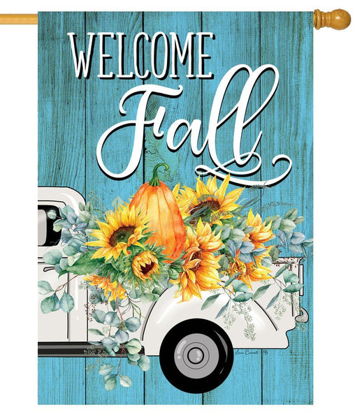 Fall Floral Truck House Flag - I AmEricas Flags