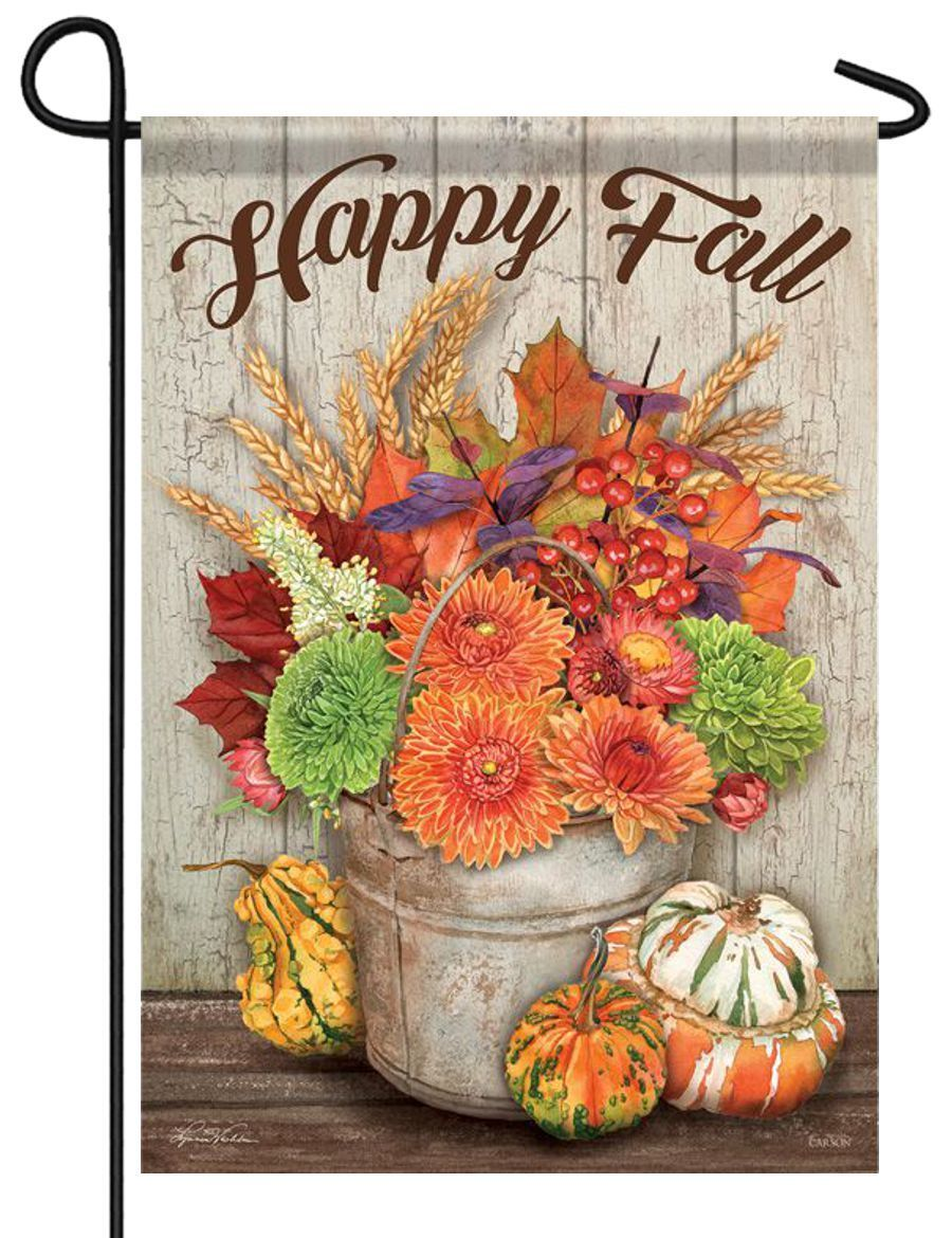 Fall Flowers Bucket Gourds Garden Flag - All Decorative Flags/Seasons/Fall Flags - I AmEricas Flags