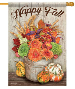 Fall Flowers Bucket Gourds House Flag - All Decorative Flags/Seasons/Fall Flags - I AmEricas Flags