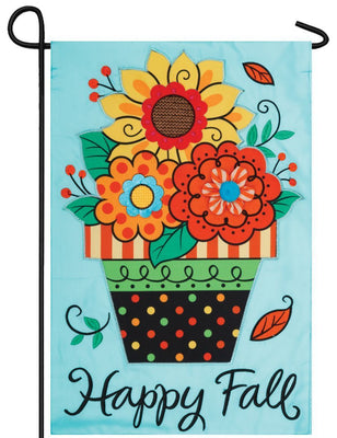 Fall Flowers Double Applique Garden Flag