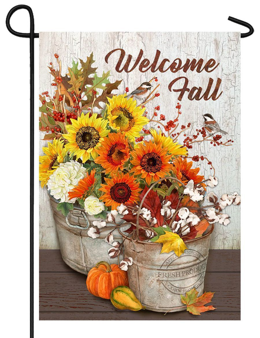 Fall Flowers and Cotton Bouquet Garden Flag - All Decorative Flags/Seasons/Fall Flags - I AmEricas Flags