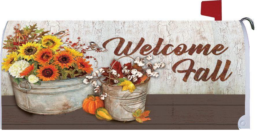 Fall Flowers and Cotton Bouquet Mailbox Cover
