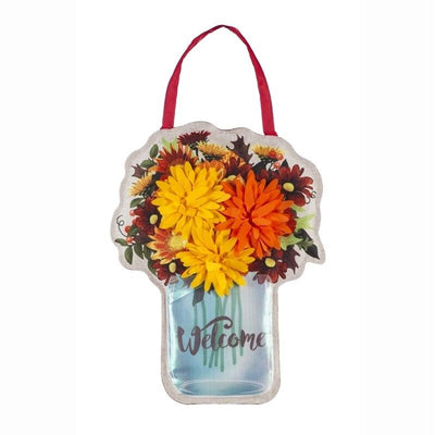 Fall Mums Mason Jar Decorative Door Hanger