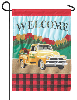 Fall Pickup Truck Double Applique Garden Flag