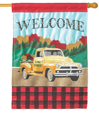 Fall Pickup Truck Double Applique House Flag
