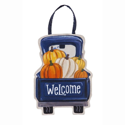 Fall Pumpkins Pickup Truck Decorative Door Hanger