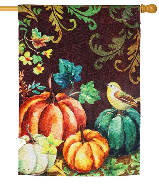 Fall Pumpkins and Bird Textured Suede Reflections House Flag