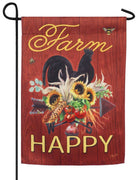 Farm Happy Rooster Suede Reflections Garden Flag