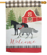 Farmstead Winter Plaid Horses Suede Reflections House Flag