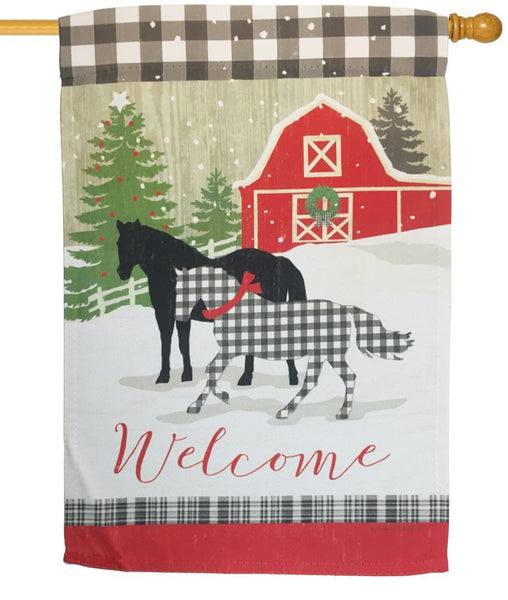 Farmstead Winter Plaid Horses Suede Reflections House Flag - All Decorative Flags/Holidays/Christmas Flags - I AmEricas Flags