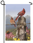 Fence Post Cardinal Couple Garden Flag