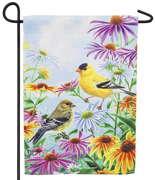 Finch and Daisies Suede Reflections Garden Flag