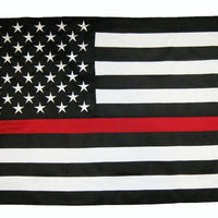Firefighter Thin Red Line Black and White American Flag 3x5 2-Ply Polyester