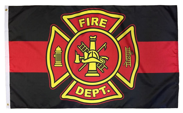 Firefighter Red Line Maltese Cross Flag 3x5