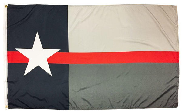 Firefighter Thin Red Line Black and Grey Texas Flag 3x5
