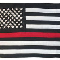 Firefighter Thin Red Line Black and White American 2-Ply Polyester 12x18 Boat Flag