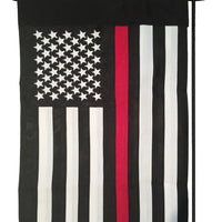 Firefighter Thin Red Line Black and White American 2-Ply Polyester Garden Flag