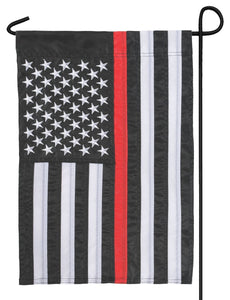 Firefighter Thin Red Line Black and White American Applique Garden Flag