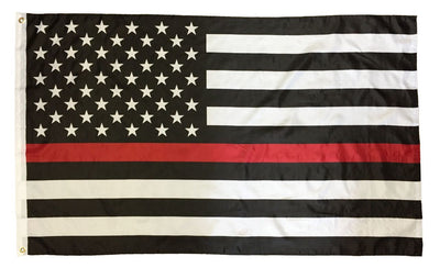 Firefighter Thin Red Line Black and White American Flag 3x5