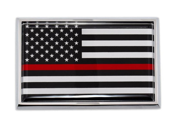 Firefighter Thin Red Line Black and White American Flag Car Emblem