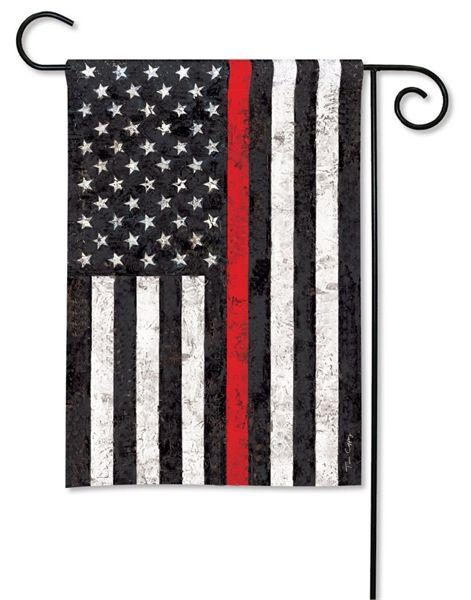 Firefighter Thin Red Line Black and White American Garden Flag