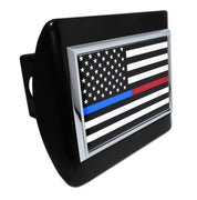 First Responder Black and White American Flag Black Metal Hitch Cover