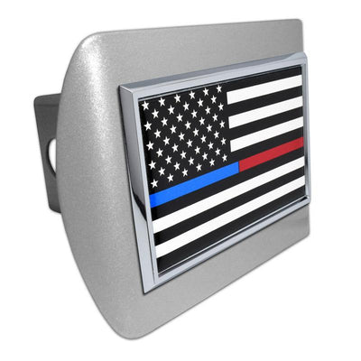 First Responder Black and White American Flag Brushed Chrome Hitch Cover