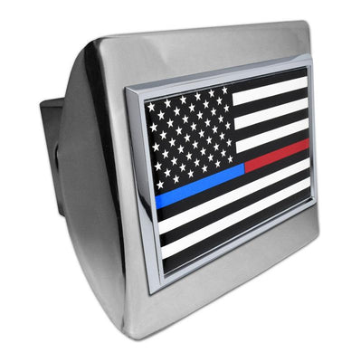 First Responder Black and White American Flag Shiny Chrome Hitch Cover