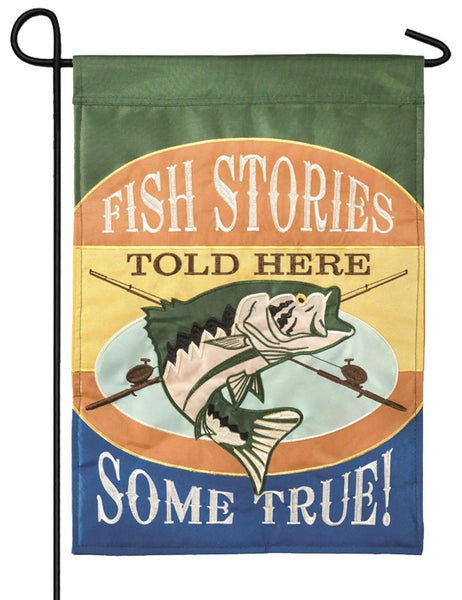 Fish Stories Double Applique Garden Flag