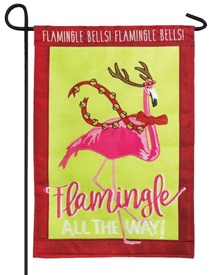 Flamingle All the Way Double Applique Garden Flag