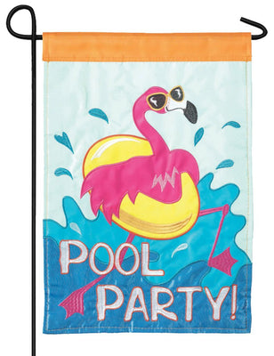 Flamingo Pool Party Double Applique Garden Flag