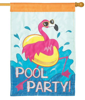 Flamingo Pool Party Double Applique House Flag