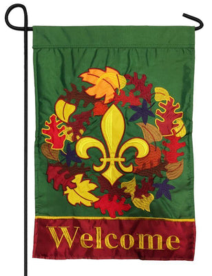 Fleur de Lis Fall Wreath Double Applique Garden Flag